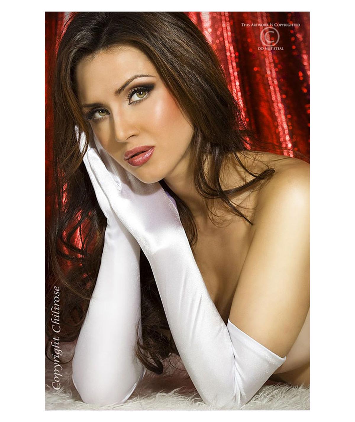 Witte satijnen handschoenen...